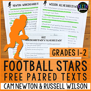 Keith Geswein 200 passages about famous athletes for grades 1-6. Watch as your students get excited, engaged, and eager to read passage after passage!
