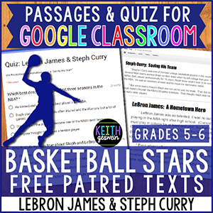 Paired texts about LeBron James and Steph Curry that can be used in Google Classroom.