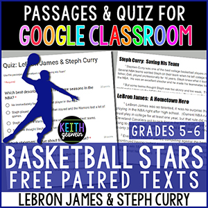 Paired passages about famous basketball players for Google Classroom